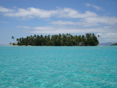 The view of the motu (reef islet) where we spent some time on the beach