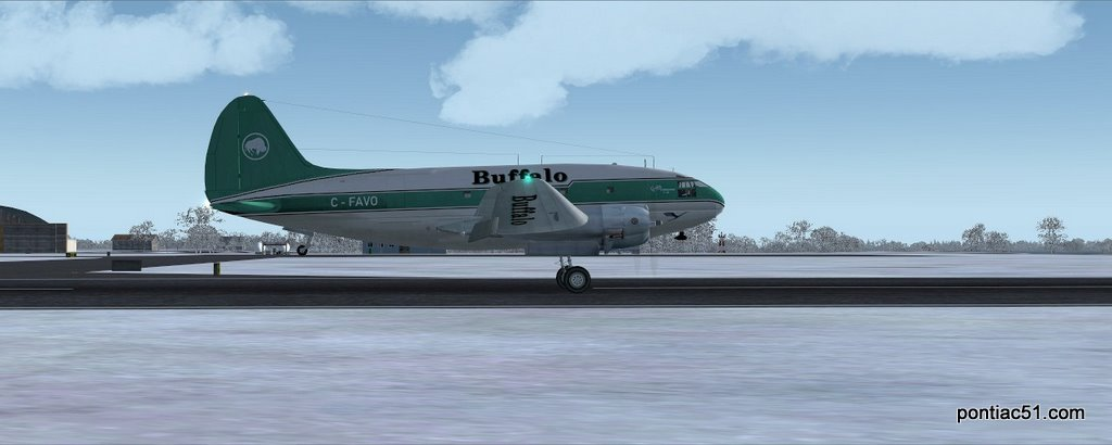 Takeoff run with the C-46.