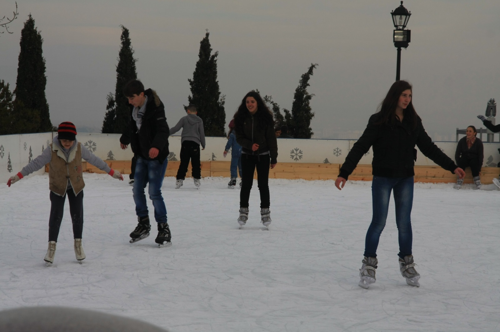 Not enough snow for snowboarding this year, but at least people can ice skate