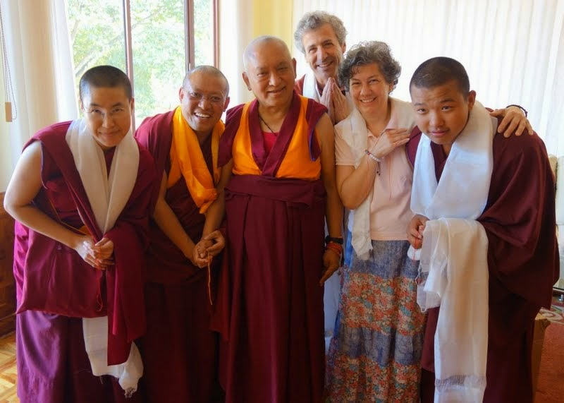 Lama Zopa Rinpoche with a group from Kurukulla Center in the US including the resident geshe, Geshe Tenley, Sera Je Monastery, India, January 2014. Photo by Ven. Roger Kunsang.
