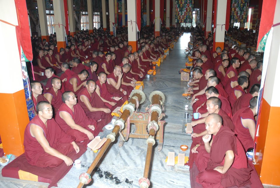 Puja with monks of Sera Je Monastery