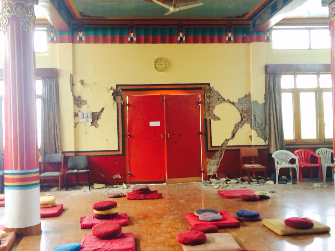 Damage to Chenrezig gompa at Kopan Monastery, Nepal, April 27, 2015