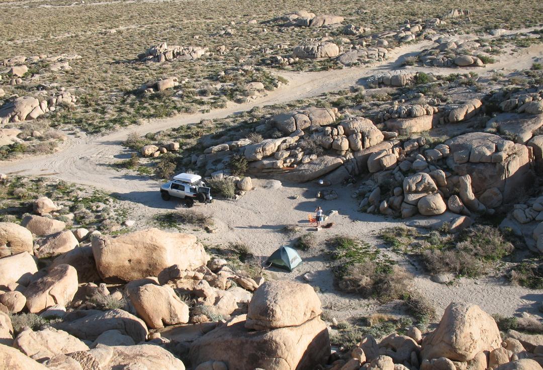 Camp set up in Mortero Wash