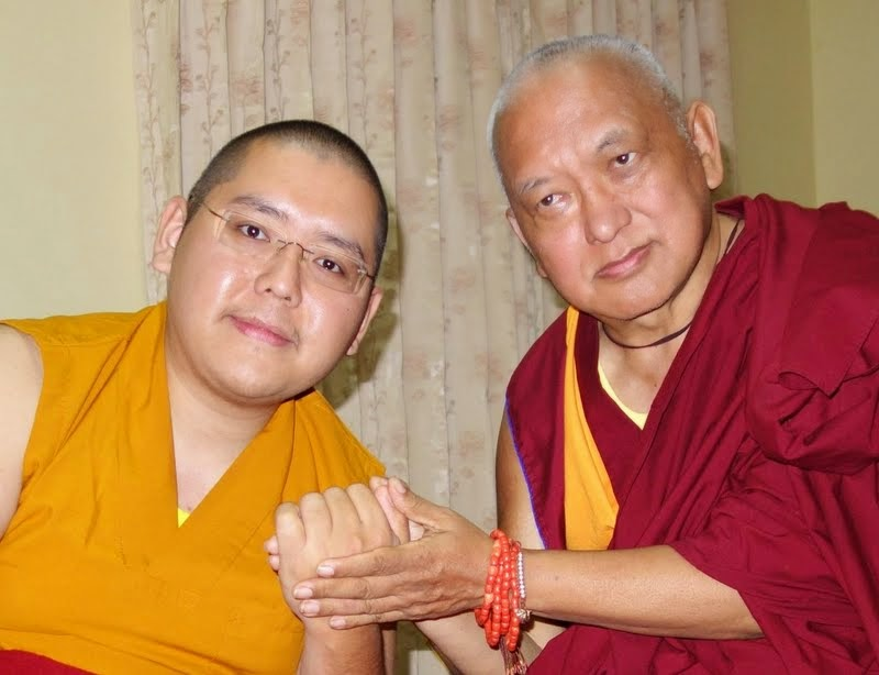 His Eminence Ling Rinpoche and Lama Zopa Rinpoche, Bylakuppe, India, December 2013. Photo by Ven. Roger Kunsang.