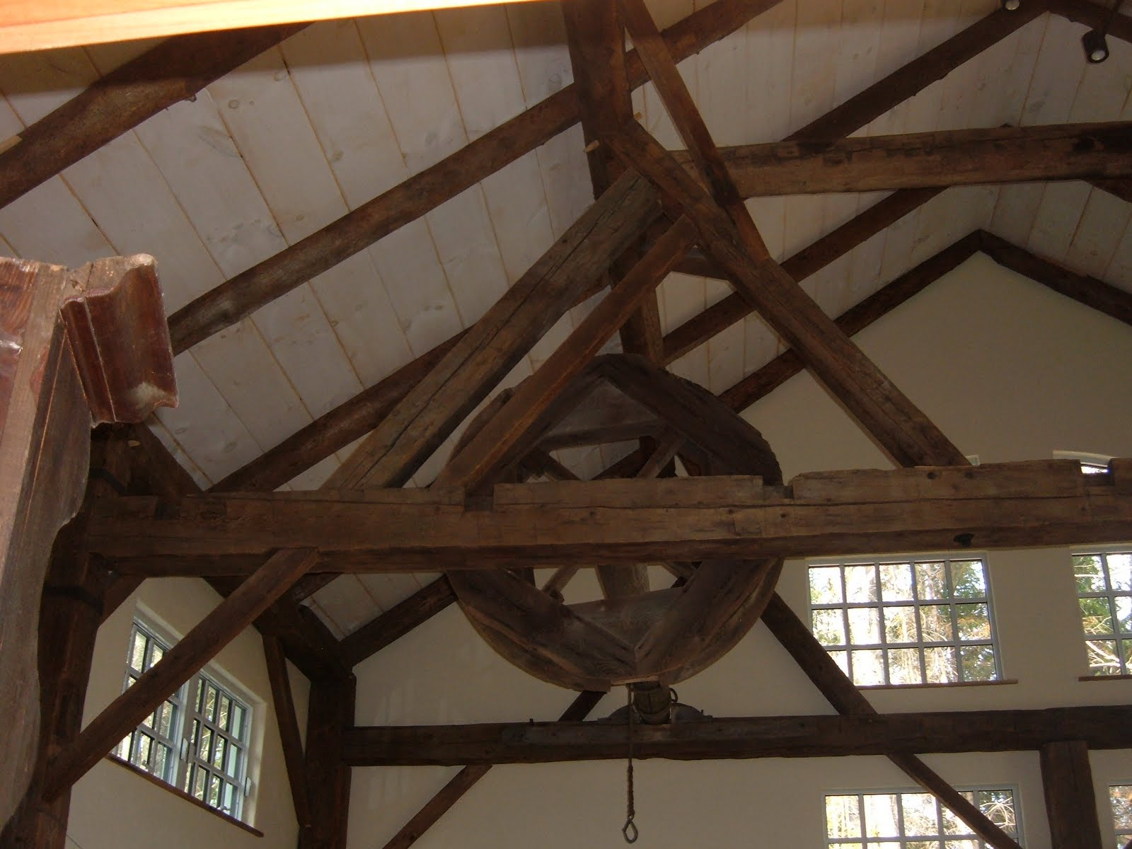 The carcass wheel was an original feature of this barn.