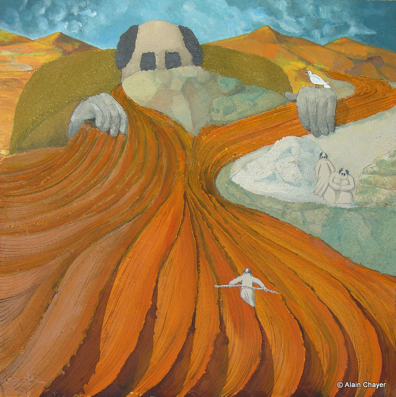 171 - Terracotta - 2007 100 x 100 - Sable et acrylique sur toile