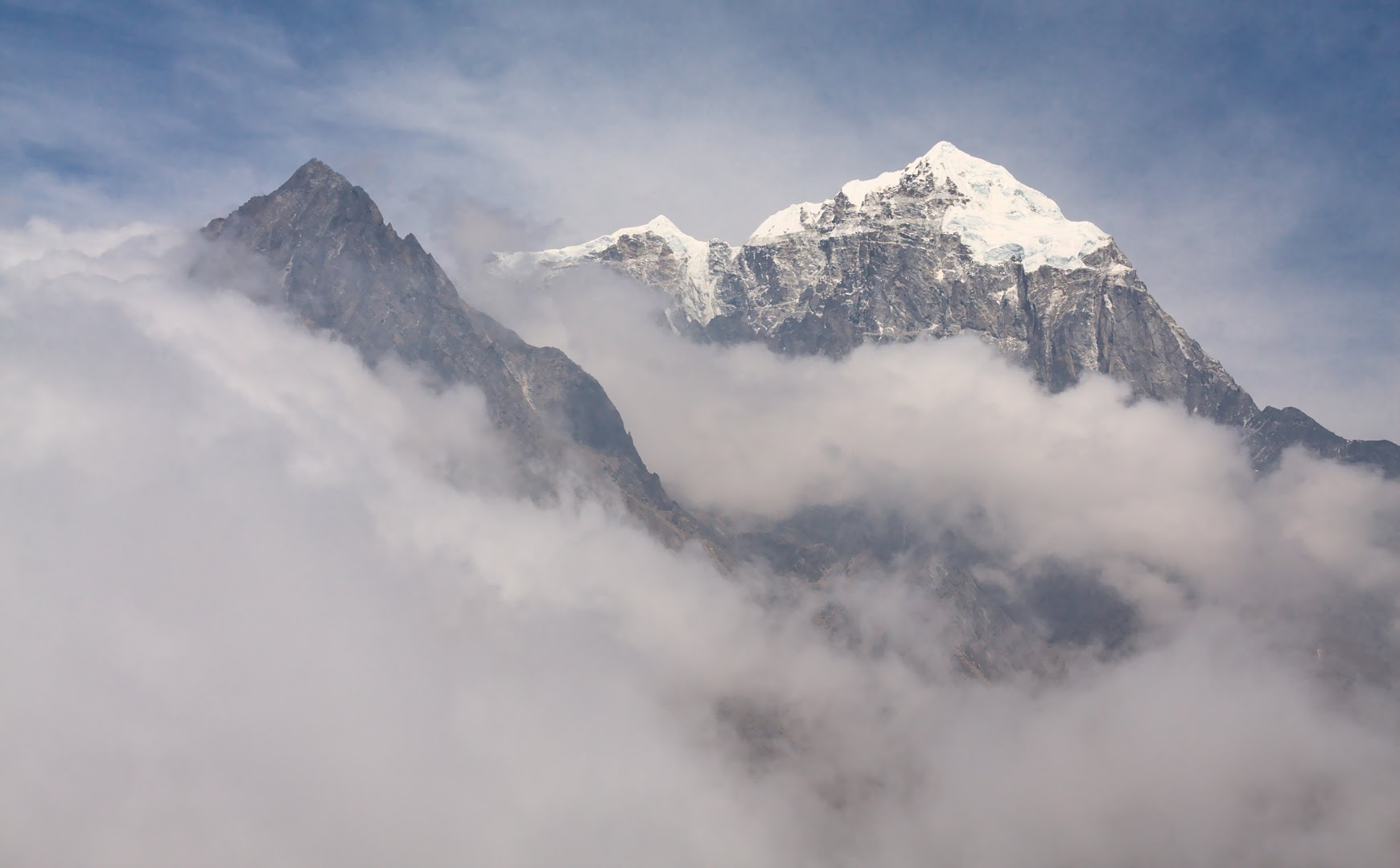 Everest is hiding behind the clouds