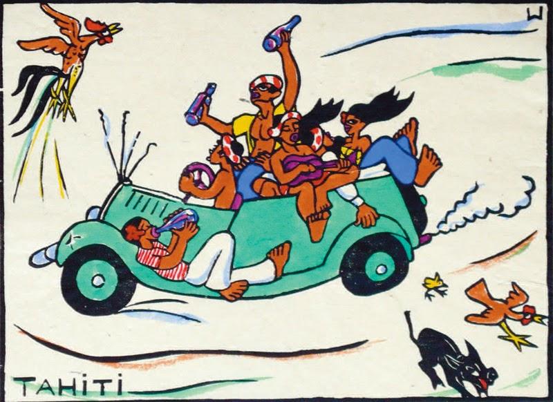 Tahitian car ride, hand colored block print, no date