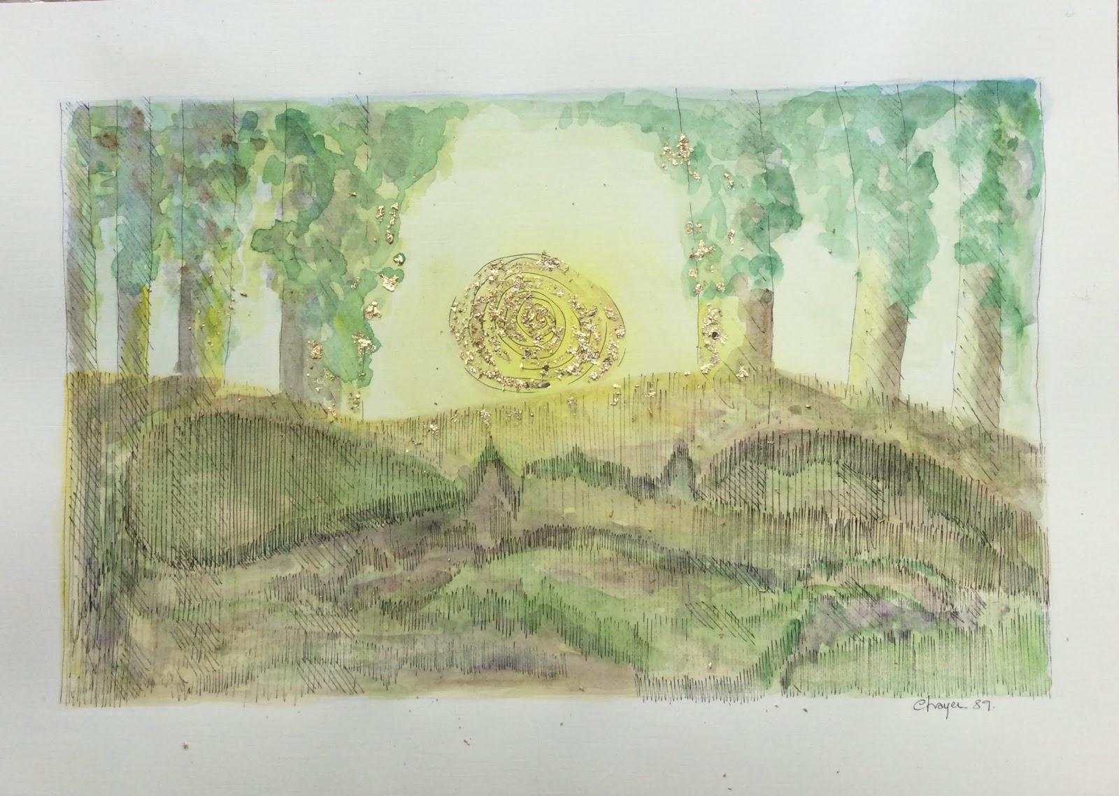 286 D'EAU, DE VERT ET D'OR (1989) -  30 x 21 cm - Aquarelle sur papier canson 125 g, plume encre de chine, or 24 carats