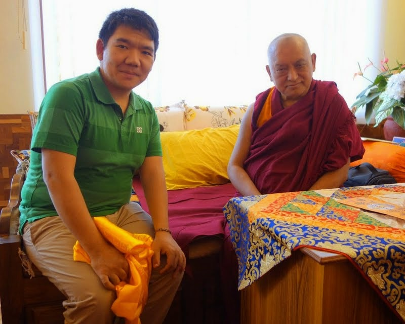 Lama Zopa Rinpoche meeting with Serkong Tsenshab Rinpoche, Sera Je Monastery, India, January 2014. Photo by Ven. Roger Kunsang.