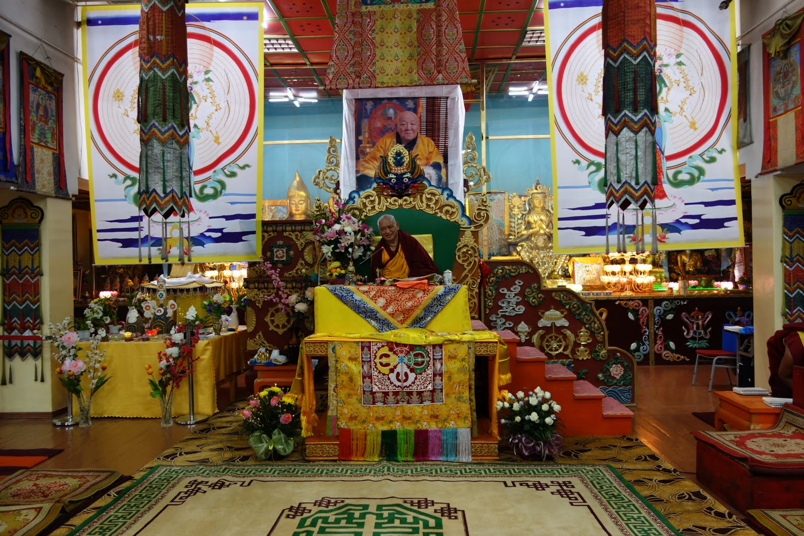 Rinpoche doing his first session at the 100 Million Mani Retreat in Mongolia, August 15, 2013.Photo: Ven. Roger Kunsang