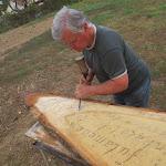 Halavács Béla címerfaragó mester Kárpátaljáról érkezett a táborba