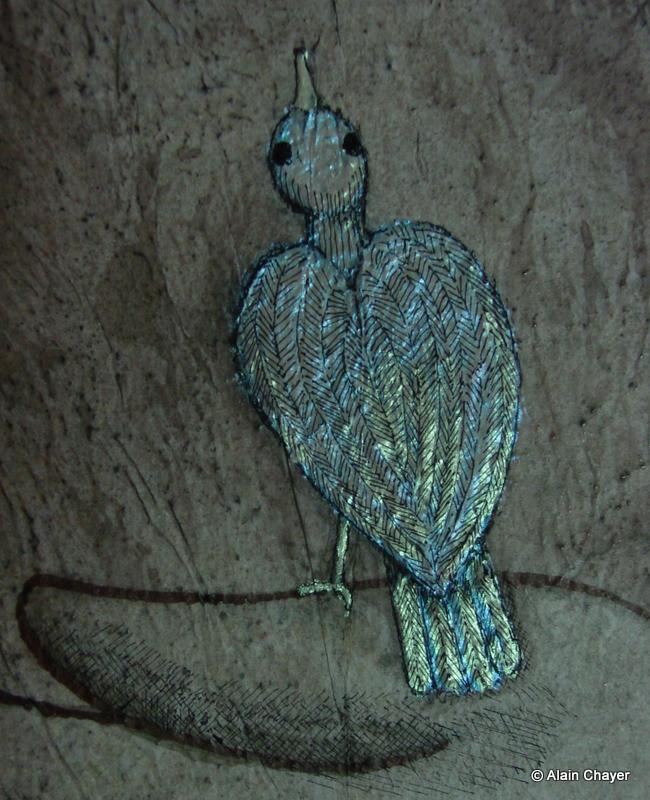 177.2 - Oiseau Nacré (Zoom détail) - 2007 46 x 38 - Acrylique, Sable et encre de Chine sur toile