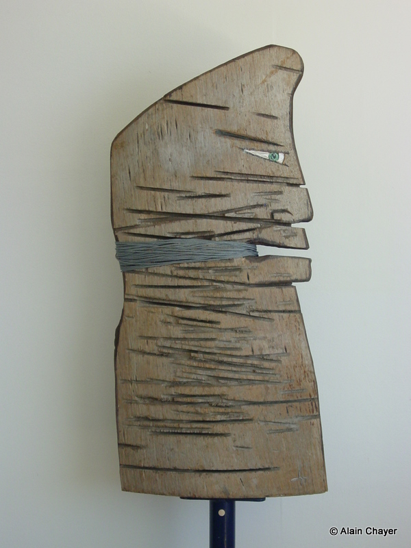 086 -Tian'anmen - 1998 H 100 x 48  Bois sculpté