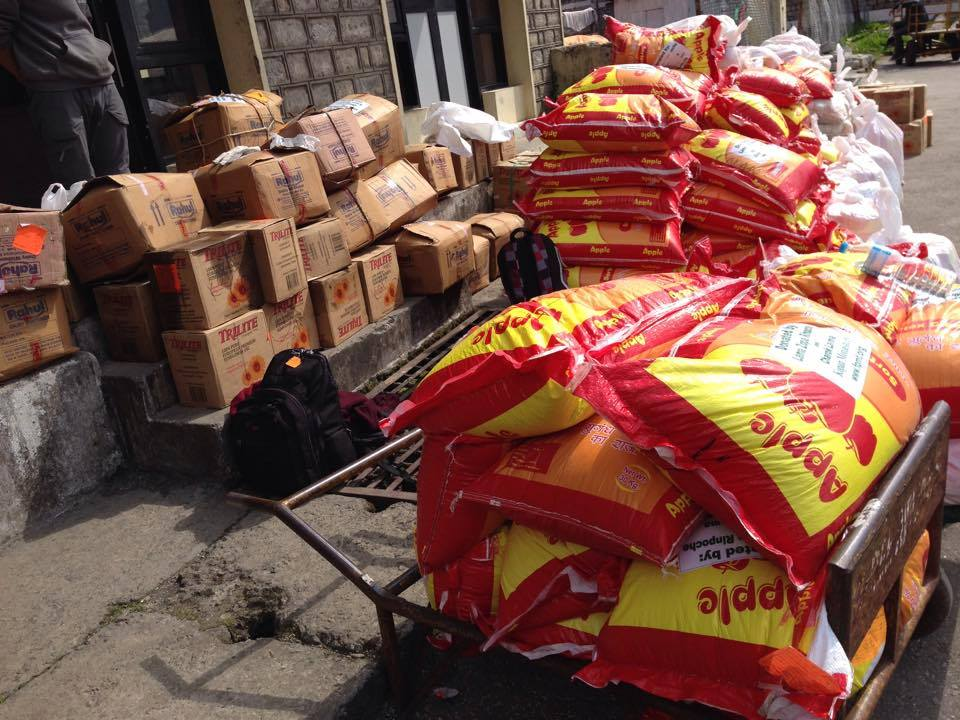 Supplies for affected people in Solu Khumbu. Photo by Charok Lama