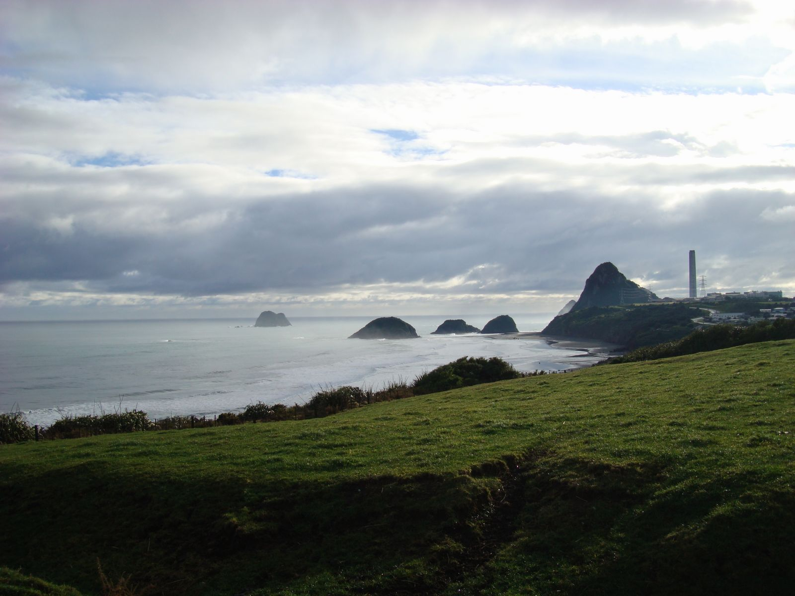 View from near Black Beach looking back towards New Plymouth port