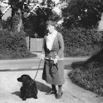 Miss Mercy Humfrey seen from the Hollow Way with The Elms behind circa 1933