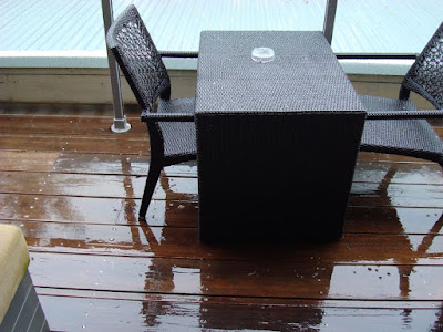 The continuous rain on the deck