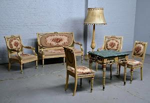 Мебельный гарнитур ок.1900 г. Диван, два кресла, два стула, стол, торшер. Дерево, резьба, роспись, мрамор, гобелен.