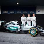 Mercedes W06 with Lewis Hamilton, Pascal Wehrlein and Nico Rosberg