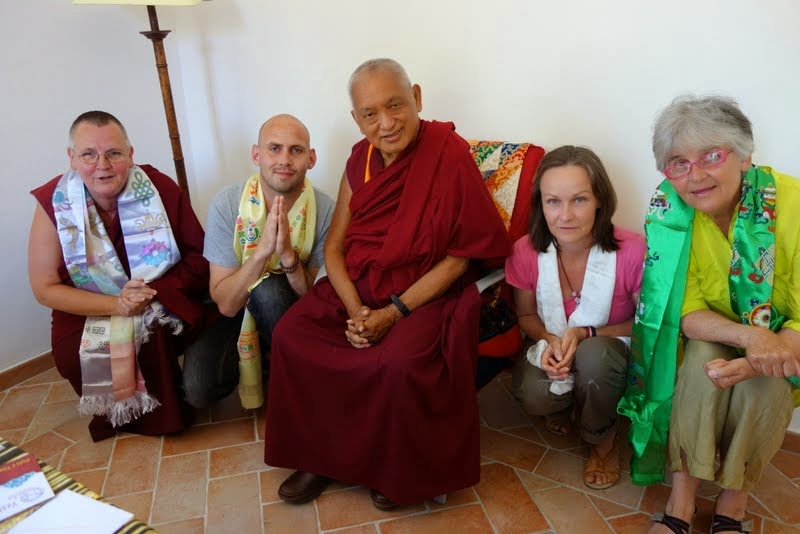Lama Zopa Rinpoche meeting with Danish students from Tong-nyiNying-jeLing, the FPMT center in Copenhagen, Denmark, during Rinpoche's stay at ILTK, Pomaia, Italy, June 2014. Photo by Ven. Roger Kunsang.