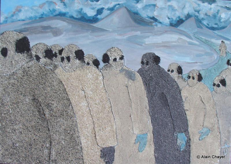 164 - La Longue Marche - 2006 50 x 70 - Sable et acrylique sur toile