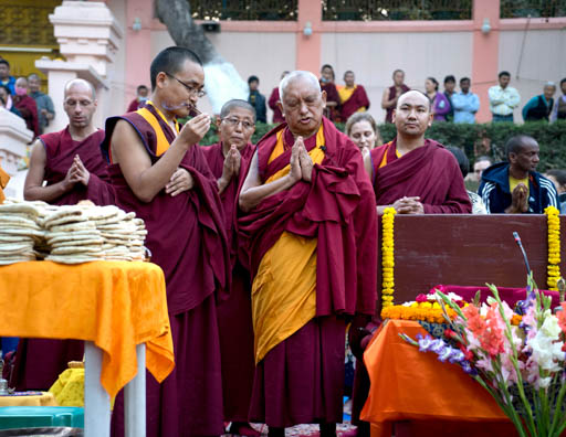 Lama Zopa Rinpoche doing a puja at the Mahabodhi Stupa, Bodhgaya, India, March 2015. Photo by Andy Melnic.