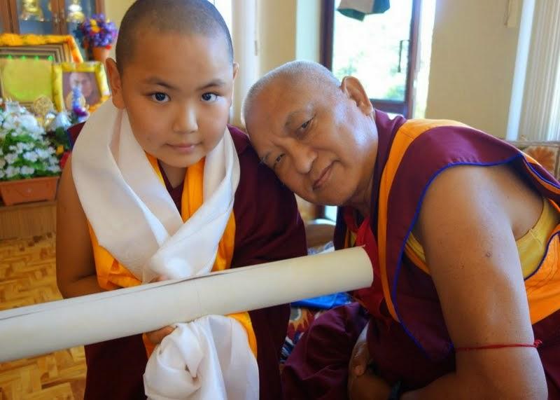 Tenzin Phuntsok Rinpoche and Lama Zopa Rinpoche, Sera Je Monastery, India, January 2014. Photo by Ven. Roger Kunsang.