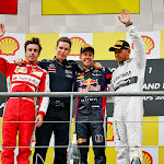 2013 Belgian F1 GP podium: 1. Vettel 2. Alonso 3. Hamilton