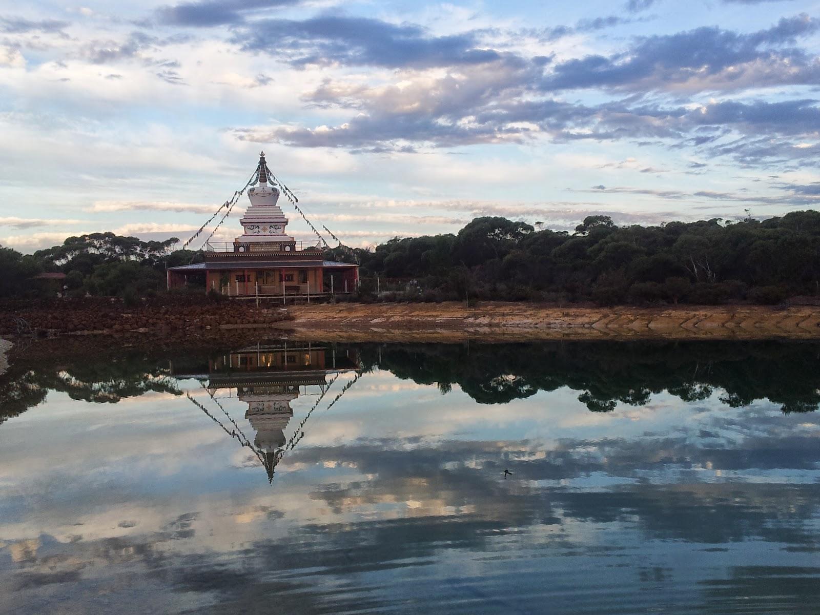 Enlightenment Stupa (9 meters, 29.5 feet) at De Tong Ling Retreat Centre, Kangaroo Island, Australia.
