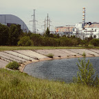 The Chernobyl power plant behind the cooling reservoir