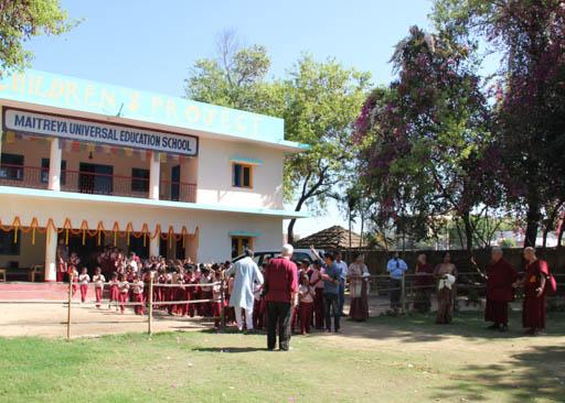 Lama Zopa Rinpoche visits Maitreya School, Bodhgaya, India, March 2015. Photo by Ven. Roger Kunsang.