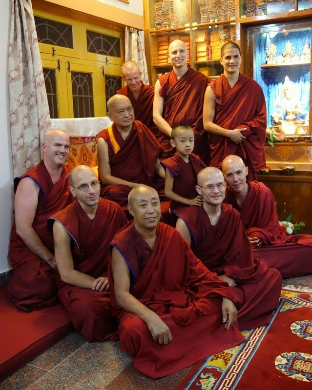 Lama Zopa Rinpoche with International Mahayana Institute (IMI) monks at Sera Monastery, India, December 2013. Photo by Ven. Roger Kunsang.