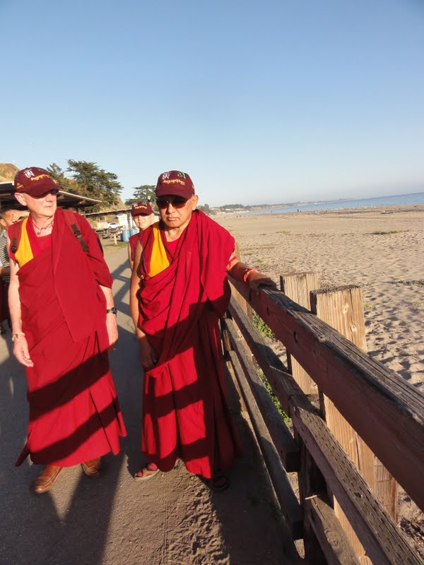 Ven.Roger and Lama Zopa Rinpoche at the beach