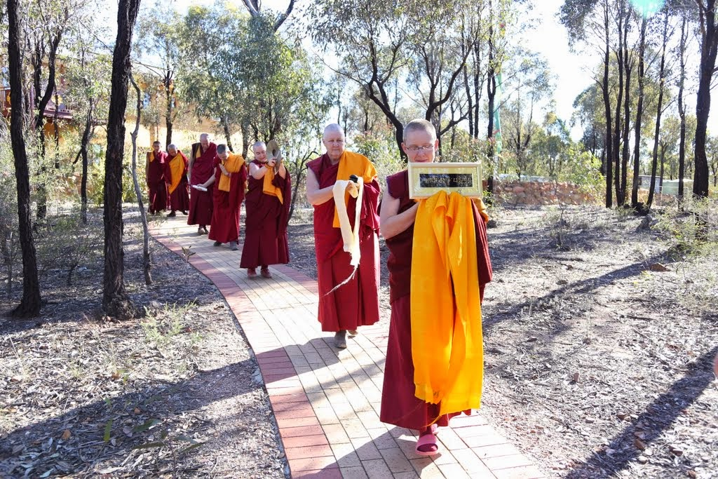 Procession of Sangha leading Lama Zopa Rinpoche to Great Stupa of Unviersal Compassion for oral transmission of Golden Light Sutra, Australia, October 2014. Photo by Ven. Thubten Kunsang.