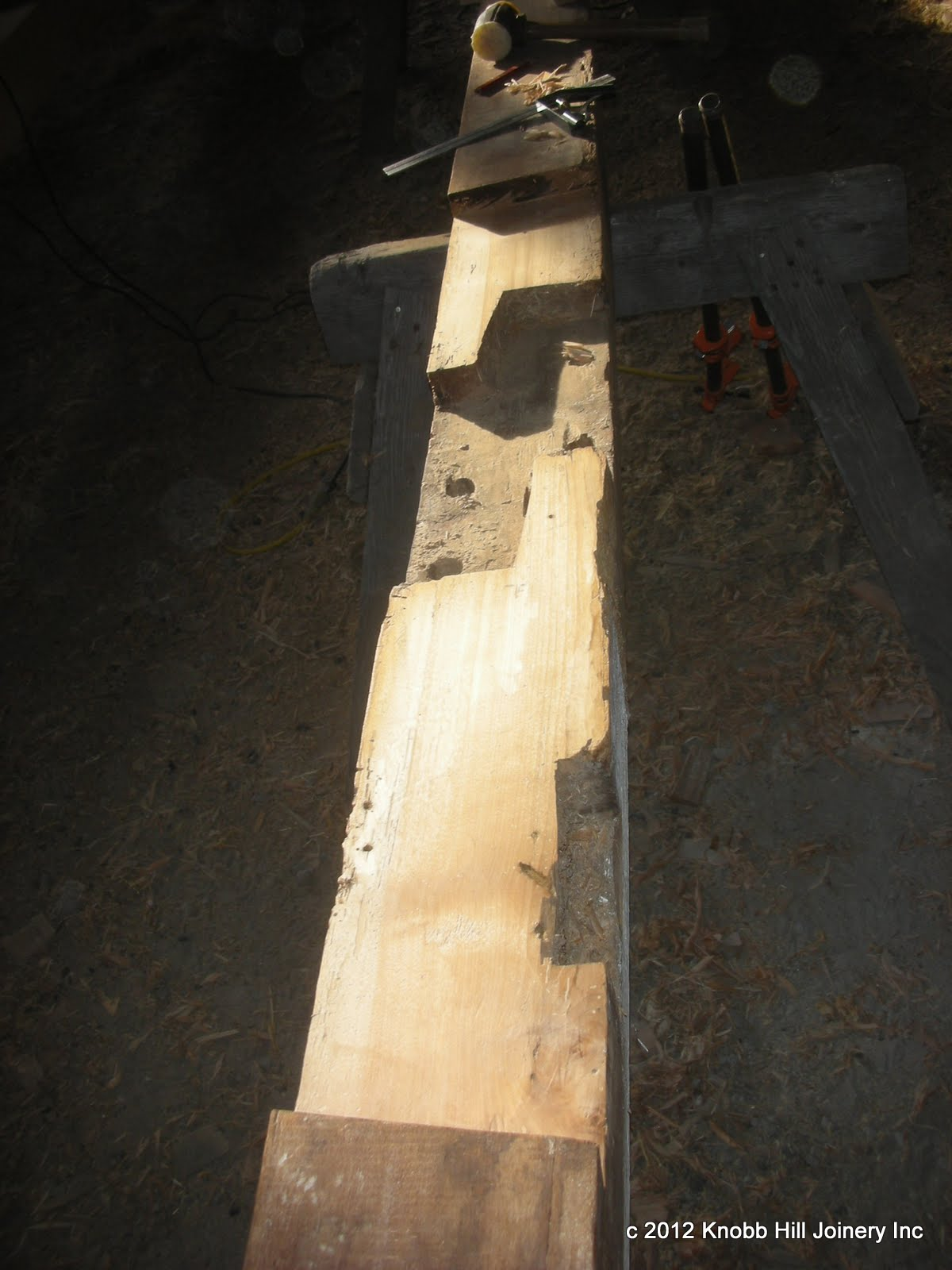 The shoulders of the post from the preceding photo were extremely deteriorated but the remaining wood was sound.