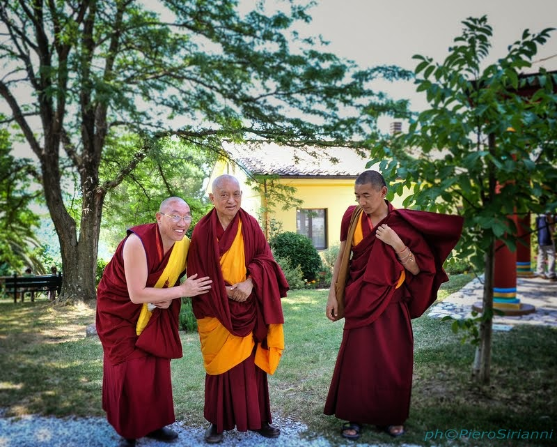 Lama Zopa Rinpoche with Geshe Gelek and Ven. Sangpo, June 13, 2014. Photo by Sirianni.