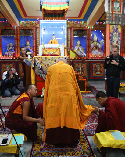 Lama Zopa Rinpoche at Root Institute, Bodhgaya, India, March 2015. Photo by Ven. Thubten Kunsang.