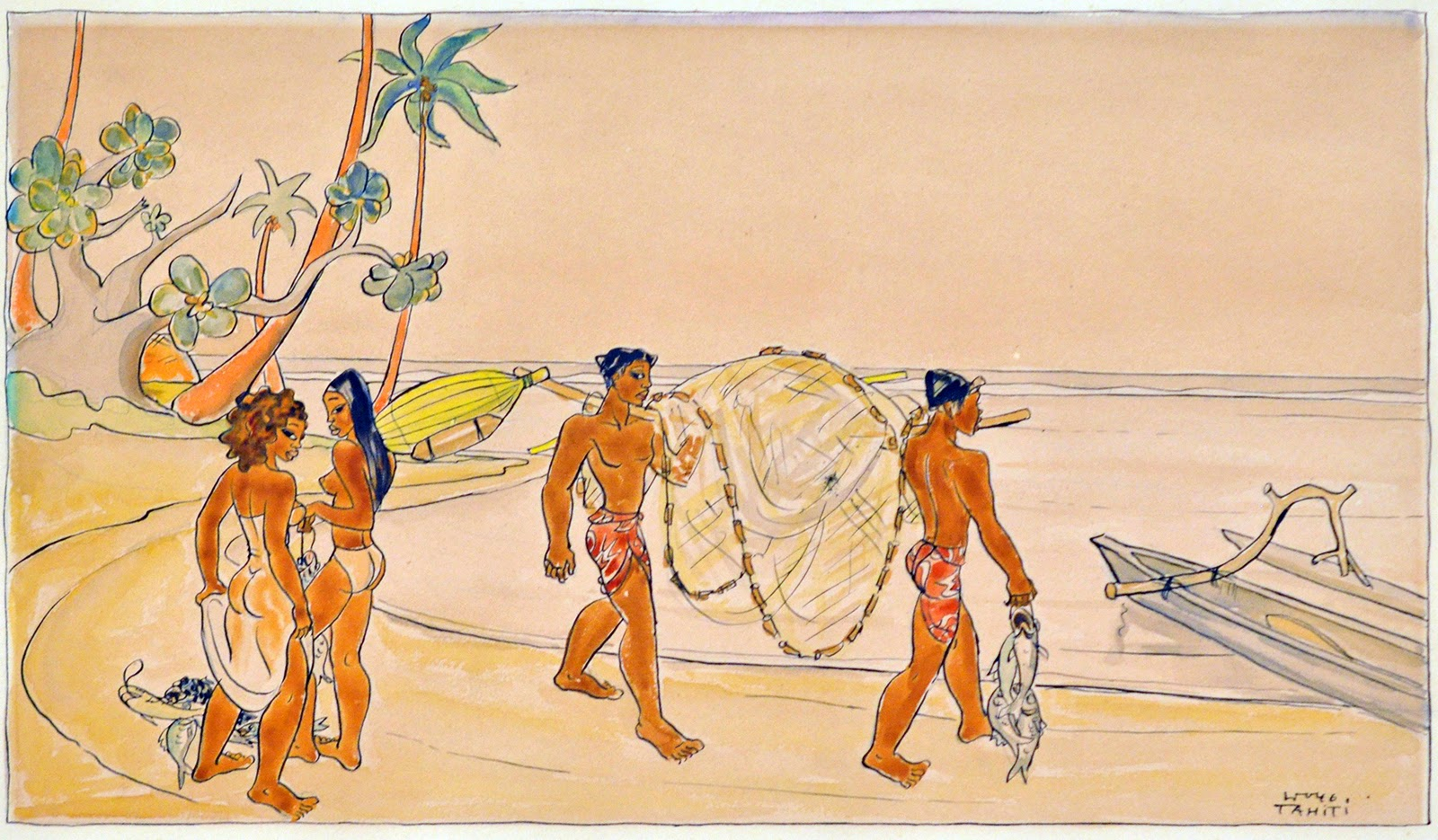 Fishermen and women at the beach, watercolor on paper, 1946