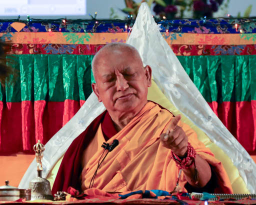 Lama Zopa Rinpoche at a public teaching organized by Buddha House, Adelaide, Australia, May 2015. Photo by Ven. Thubten Kunsang.