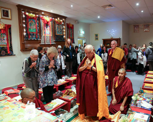 Lama Zopa Rinpoche at Buddha House in Adelaide, Australia, May 2015. Photo by Ven. Thubten Kunsang.