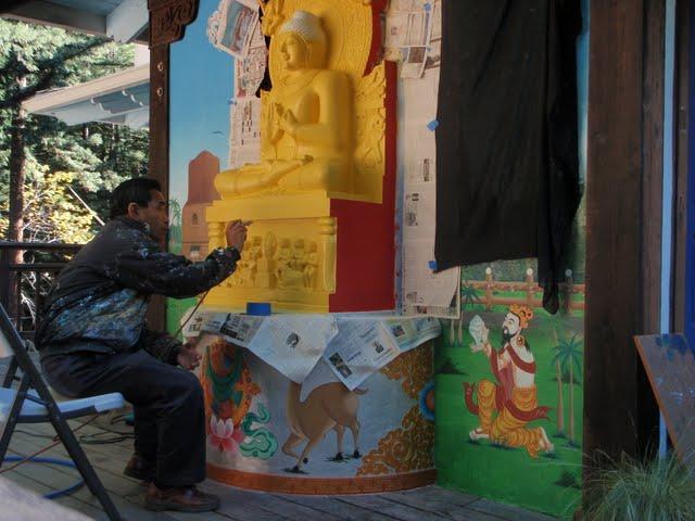 Gelek painting Buddha at Vajrapani Institute, California, USA, November 2010