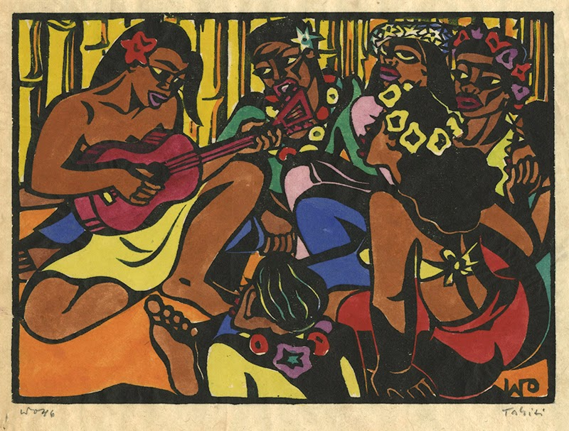 Ukulele player and singers, hand colored block print, 1946