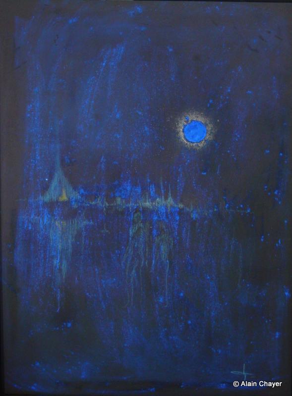 095 - Lune Bleue - 2001 115 x 85 - Craie sur toile