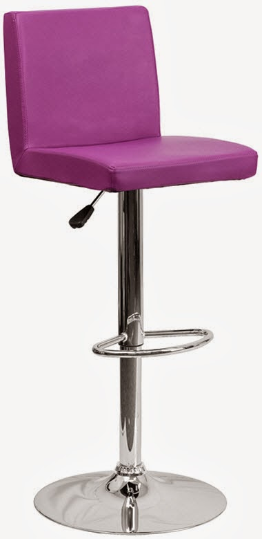FLASH CH-92066-PUR-GG CONTEMPORARY PURPLE VINYL ADJUSTABLE HEIGHT BAR STOOL WITH CHROME BASE