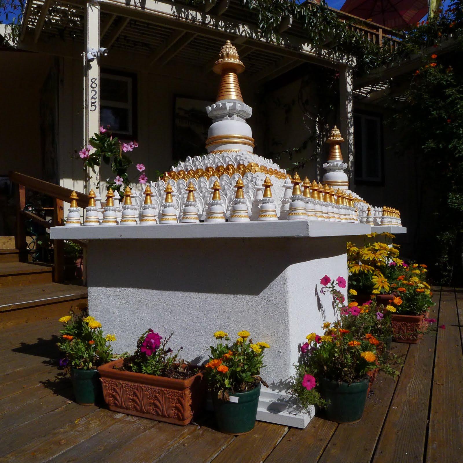 Many small Kadampa stupas to circumambulate before you enter Kachoe Dechen Ling,  Aptos, CA, USA.