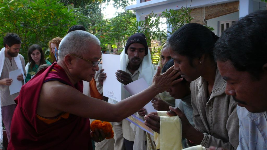 Blessing Indian staff at Shakyamuni Clinic, Bodh Gaya