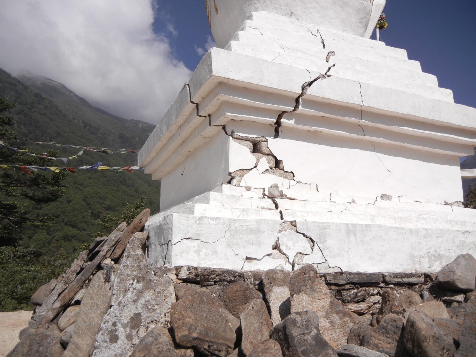 Stupa damage from the earthquake.