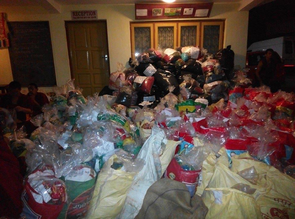 Aid packages bundled by Kopan Helping Hands.