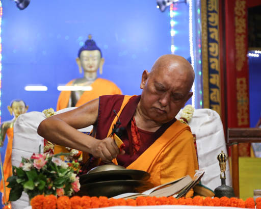 Lama Zopa Rinpoche during puja at Root Institute, Bodhgaya, India, February 2015. Photo by Ven. Thubten Kunsang.
